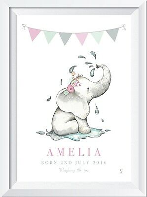 Personalised baby name LASER SW CRYSTAL PRINT gift christening elephant