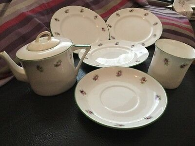 Art Deco Foley Art China Peacock Pottery Teapot, Cup, Saucer & Side Plates
