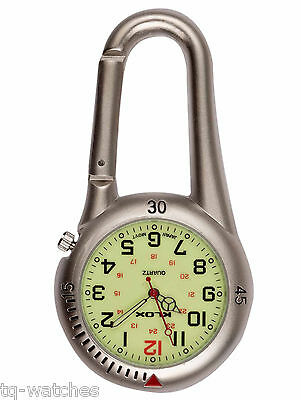 Silver Clip-on Carabiner FOB Watch for Doctors Nurses Chefs Sports Hikers