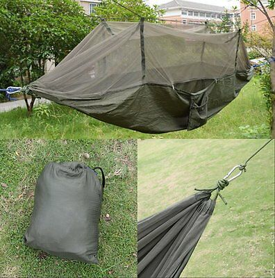 Army Green Outdoor Jungle Camp Tent Hammock With Mosquito Net Military Bushcraft