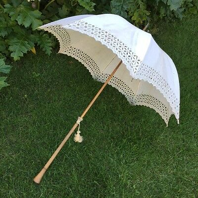 DELIGHT !!! Antic FRENCH Ladies PARASOL UMBRELLA White Lace Wedding Ombrelle1890