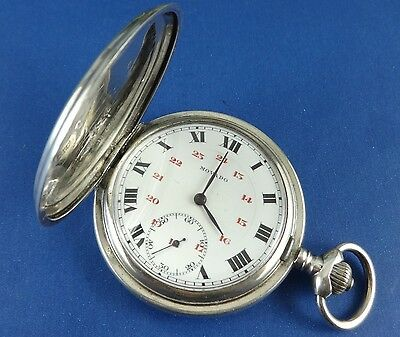 Antique MOVADO Sterling Silver Hunter Case 51mm Pocket Watch. Ca 1910's
