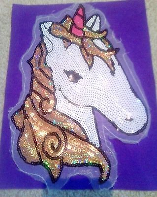 Unicorn sequin large patch Sew on Applique Motif Sparkly Pink Gold