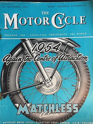 The Motorcycle Magazine # 24/09/1953 # Matchless Cover # Vintage Magazine