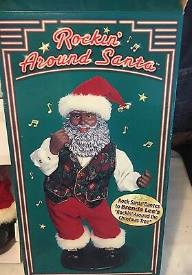 NIB Christmas Dancing Santa African American Rockin around Christmas Tree Brenda