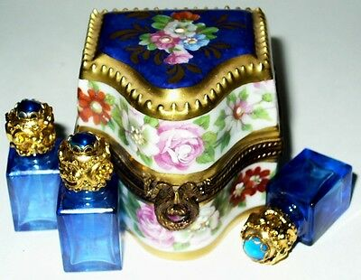 Limoges Box ~ Floral Chest & 3 Blue Perfume Bottles ~ Flowers