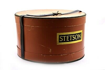 Vintage Stetson Hat Box w/ Leather Belt Closure Brass Buckle