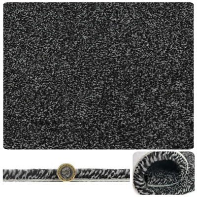 Super SOFT 16-17mm THICK Black SILVER Felt Back Saxony Carpet 4m Wide £9.99sqm