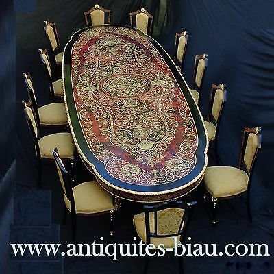 New French Long Table in marquetry Boulle style Napoléon III amazing!!!