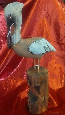 Cottage Beach Decor Wood, Hand Carved, Hand Painted Pelican 14 inch Shore Bird