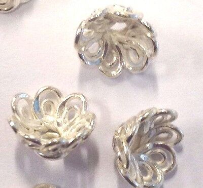 4 x Beautiful Shiny Bright Floral Sterling Silver Bead Caps (203)