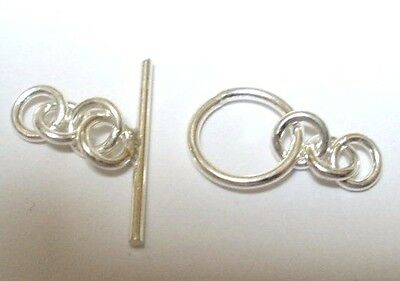 6 x Sterling Silver Toggle Clasps, Shiny Silver, Solid and Strong (210)