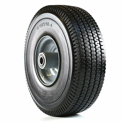 "2 Pcs Flat Free Hand Truck Wheel, 4.10/3.50-4"" Tire, Black -WFF10-2"