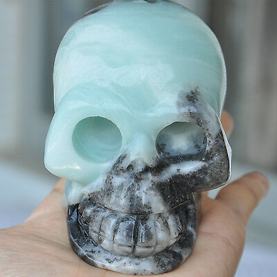 """4"""" Natural Chinese Amazonite Carved Crystal Skull Sculpture Healing Realistic"""