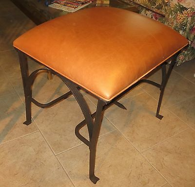 Mid Century Modern, Hollywood Regency, Bronze Wrought iron & Leather Bench/Stool