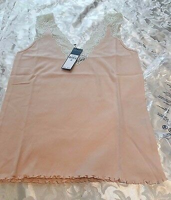 Polo Ralph Lauren Ribbed Coral/Cream Lace-Trim Cami Camisole Womens Size XL $48