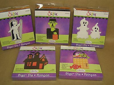 5 Great SIZZIX BIGZ Dies, Halloween theme, 2 are sealed...see pics