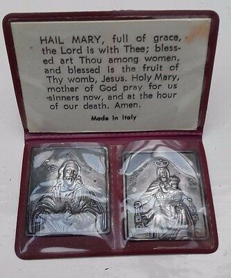 Vintage Italian Silver plated religious  miniature Icons in wallet with prayer