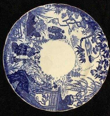1 Mikado Royal Crown Derby Blue Stamp IX Large Dinner Plate w/ Dipped Center