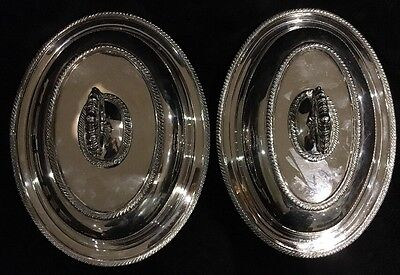 """2 Silverplate Covered Serving Dishes,Removable Handle """"Primrose Plate"""" BIRKS"""
