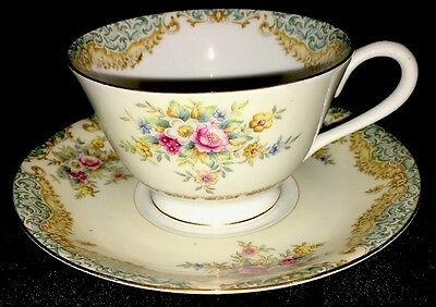 Vintage Sango China Made In Occupied Japan Footed Tea Cup and Saucer Set