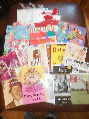 Job Lot 23 In Total New Asst Gift Bags Greetings Cards Great For Own Use Resale