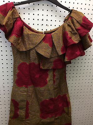 African Ladies patterned dress 100% cotton  uk size 10