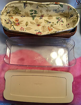 LONGABERGER Bread Basket with Liner, Protector and Lid NEW
