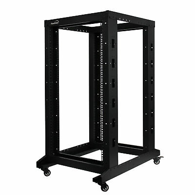 4-Post Adjustable Open Frame Server Rack IT Network Relay IT 22U 800mm Casters