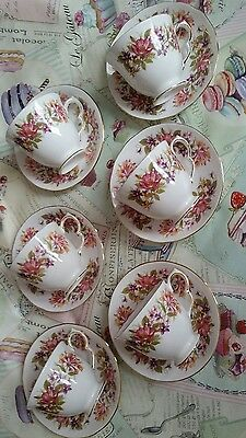 Vintage Colclough bone china Wayside tea set set of 6 teacups & saucers vgc