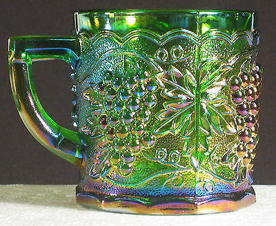 Pioneer Glass Imperial Ig 1988 Green Imperial Grape Carnival Glass Mug