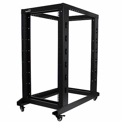 4-Post Adjustable Open Frame Server Rack IT Network Relay IT 22U 1000mm Casters