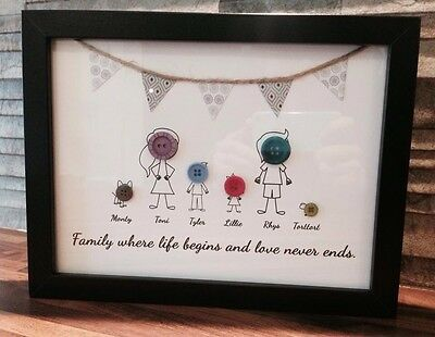 Unique Personalised Button Family Art Gift Home Decor Medium Frame