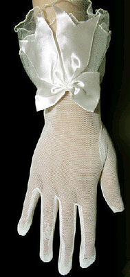 Classic Wedding 8 inch bridal Ivory Mesh Prom Lace top short Party Gloves