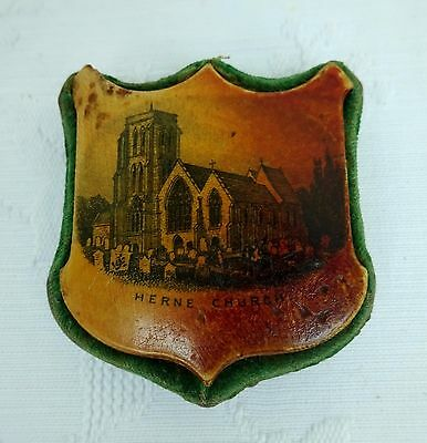 Victorian Mauchline Ware Sewing Pin Cushion Antique Treen Herne Bay Dolphin