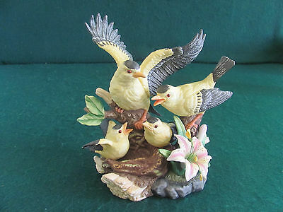Yellow Bird Finch Family Figurine