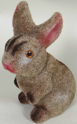 "Bunny Rabbit Piggy Bank Vintage Flocked Figurine 6.25"" Tall No Damage"