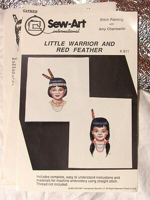 SEW ART - Little Warrior & Red Feather Machine Embroidery Native Indian Pattern