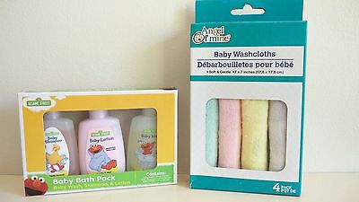 Sesame Street Baby Bath Pack Shampoo/baby Wash/lotion/washcloths Travel Set New