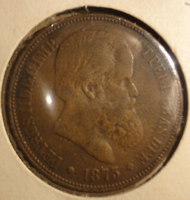 1873 Brazil 40 Reis Coin Pedro II KM#479~Combined S. & H.