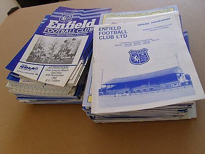 ENFIELD HOME PROGRAMMES - SEASONS  1980/81 to 1988/89 - LEAGUE, CUP & FRIENDLIES