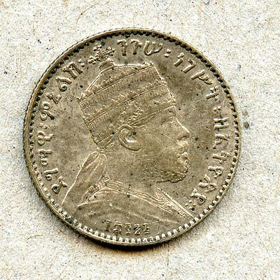 Interesting High Grade Toned Ethiopia 1895 Silver Gersh! Struck in Paris!