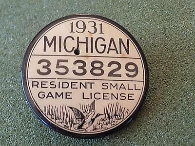 Antique 1931 Michigan Resident Small Game License Pinback Button
