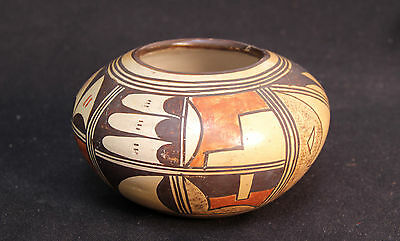 "Hopi Polychrome Pottery Jar 7"" x 4 1/2"" by Ka-A-La-Cha c.1937 with original tag"