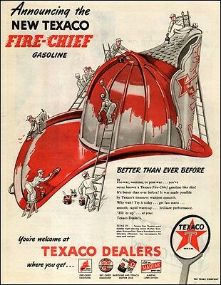 1950 vintage AD TEXACO Fire Chief Gasoline ART Painting Fireman's  Helmet 041017
