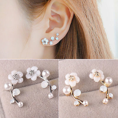 Ne Women Fashion Jewelry Lady Elegant Crystal Rhinestone Ear Stud Earrings 1Pair