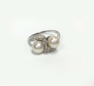 Estate Pearl and Diamond Ring 14kt White Gold