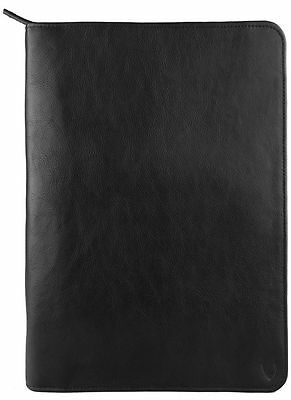 NEW HIDESIGN LEATHER ZIP FILE FOLDER PADFOLIO WITH iPAD/TABLET POCKET BLACK