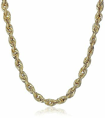 """2mm - 7mm 10K Solid Yellow Gold Italy DC Rope Chain Necklace 16""""-30"""""""