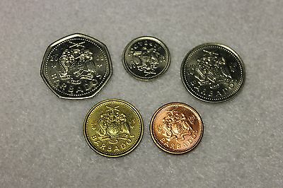set of 5 different uncirculated Barbados coins